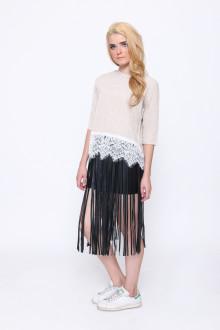 Black Fringe Leather Skirt