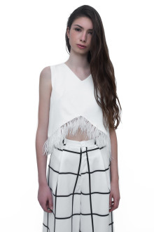 White Feather Crop Top