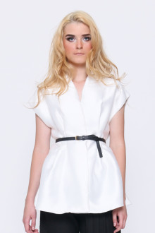White Monochrome Sateen Vest