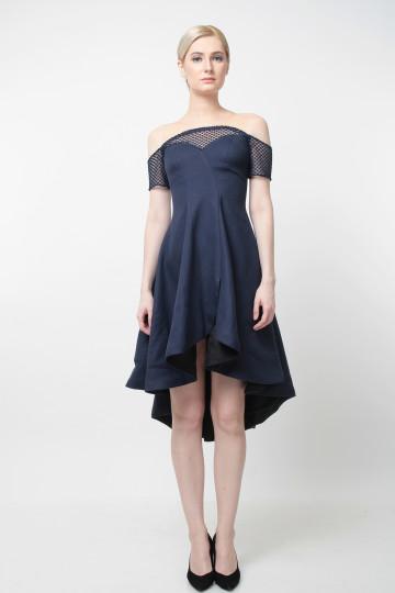 Ommy Flare Dress Navy Blue image