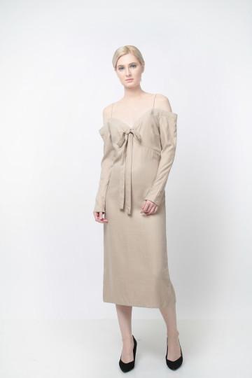 Earl Sabrina Dress Linen Khaki image