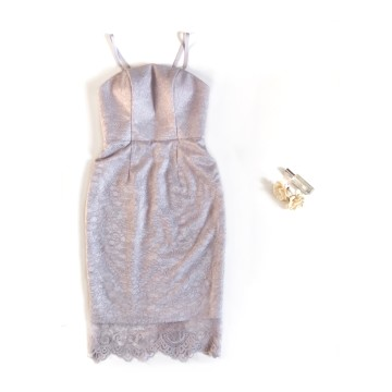 PLUME DRESS - PURPLISH GRAY image