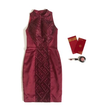 HEATHER CHEONGSAM DRESS - MAROON image