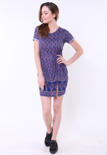 GEE EIGHT BLUE BATIK DRESS (DS 1222)