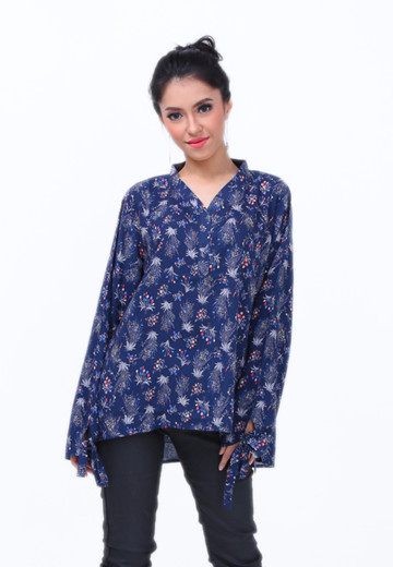 GEE EIGHT NAVY PRINT BLOUSE (SH 335)
