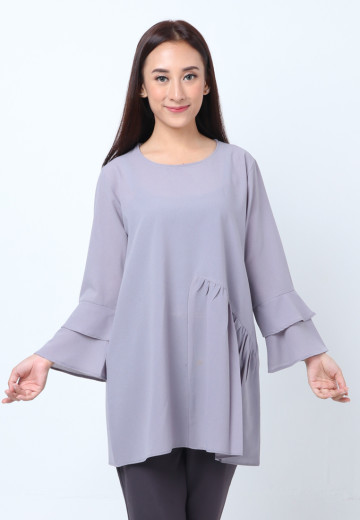 GEE EIGHT GREY BLOUSE TULIP (T3247)