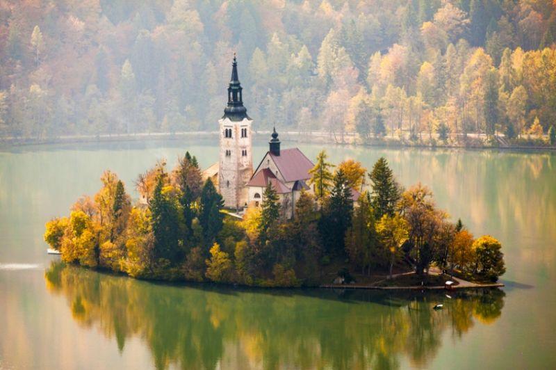 Danau Bled saat musim gugur