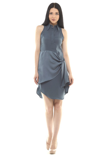 Cecily Wrap Satin Shirt Dress