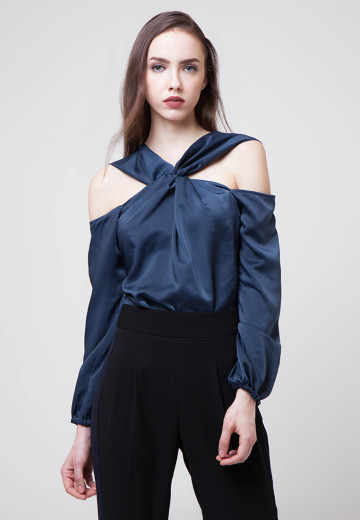 Fiona Twisted Satin Top Navy