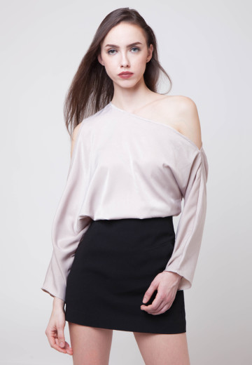 Katia One-shoulder Grey Top (Only One left!)
