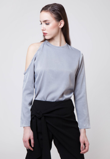 Jane Cold-shoulder Dusty Blue Top