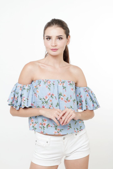 Lilo off the shoulder Blue Top
