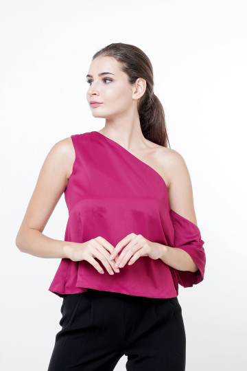 Leia Satin One-shoulder Top Purple