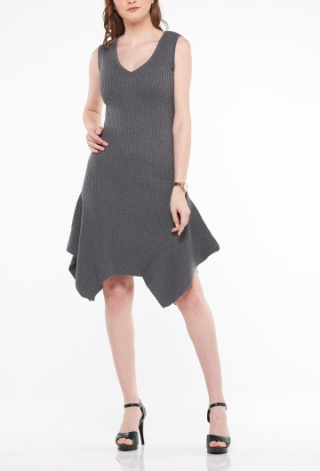 Moana Ruffle Knit Dress Grey
