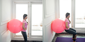 Wall Squat with Gym Ball Position