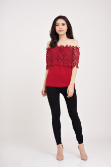 Sabrine Lace Top - Maroon