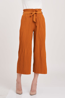 Pleated Bow Cullotes - Brown