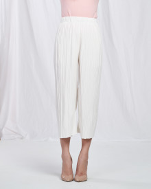 Pleated Midi Cullotes - White