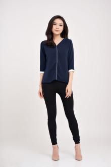 Basic Ivory Top - Navy