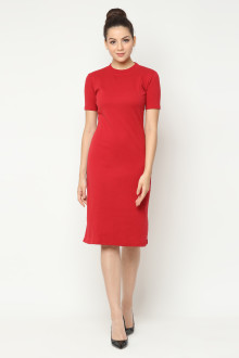 Basic Coco Midi Dress - Red