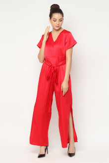 Rebecca Slit Tied Jumpsuit - Red