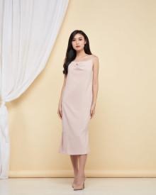 Drapery Slit Dress - Beige