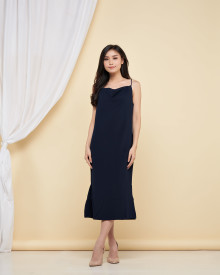 Drapery Slit Dress - Navy