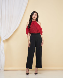 Mikaela Cut Off Shoulder Top - Maroon
