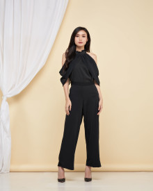 Mikaela Cut Off Shoulder Top - Black