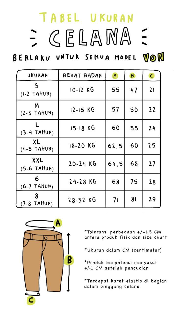 Size chart Von 2019
