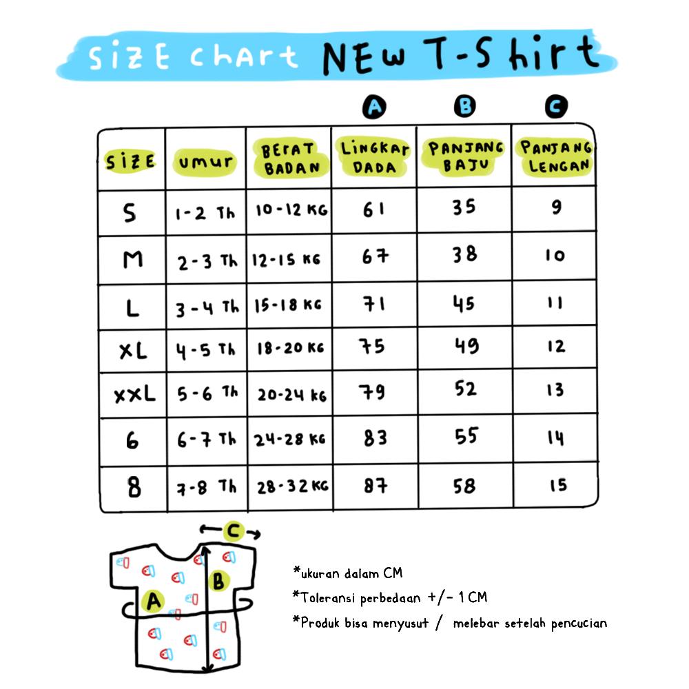 SIZE CHART NEW TSHIRT