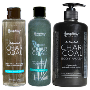 "Humphrey skin care Charcoal ""Detox"" package (shampoo - facial wash - body wash)"