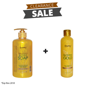 "BUNDLING | Glowing Gold ""Anti Aging"" Body Wash 500ml + Shampoo 250ml"