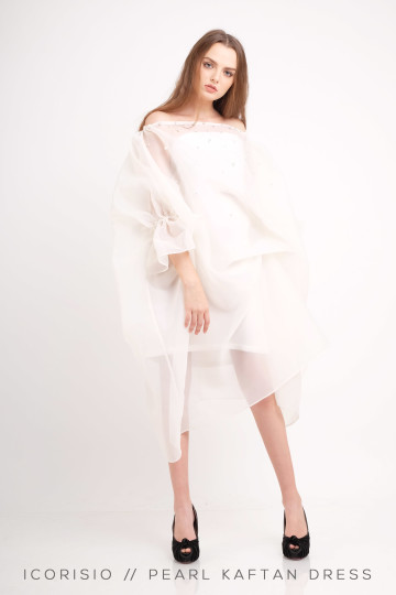 PEARL KAFTAN DRESS / BROKEN WHITE image