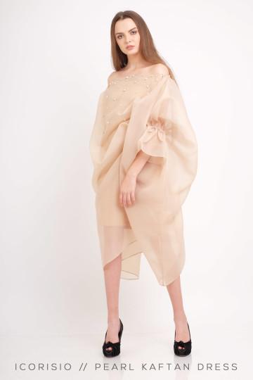 PEARL KAFTAN DRESS / NUDE image