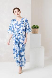 Blue White Floral Front Draped Kaftan