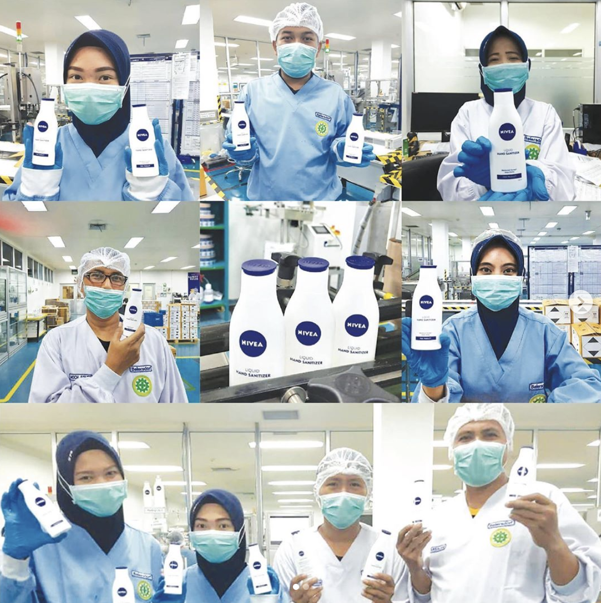 NIVEA Indonesia Hand Sanitizer Behind-The-Scenes Production (Source: IG @nivea_id, 31 March 2020)