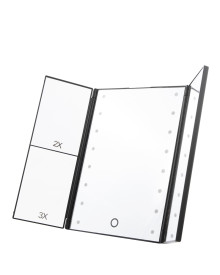16LED 3Way Foldable Standing Mirror - Black