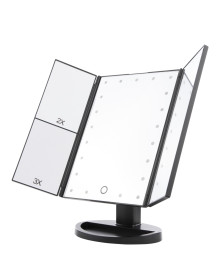 3 Way Foldable Standing Mirror with 21 LED - Black