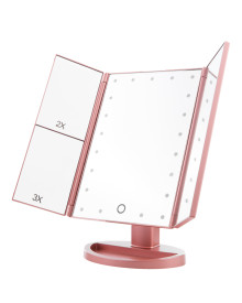 21LED 3Way Foldable Standing Mirror - Rose Gold