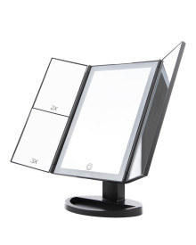 LED 3Way Foldable Standing Mirror - Black