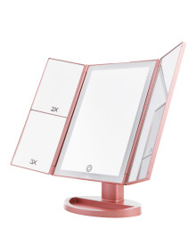LED 3Way Foldable Standing Mirror - Rose Gold