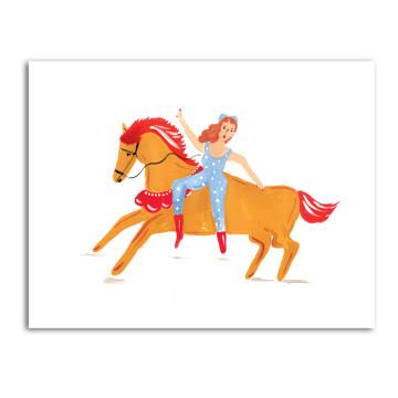 Blue Lady Rides Horse image