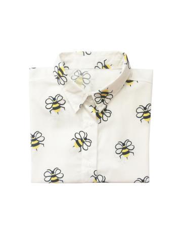Bee Pattern Vintage Blouse Long Sleeve image