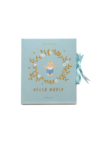 Hello World Baby Boy Keepsake image