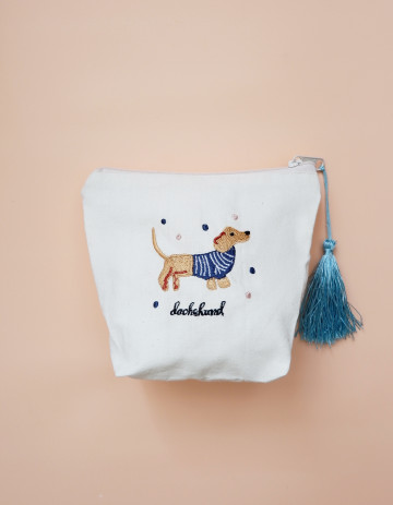 Dachshund Embroidery Pouch image