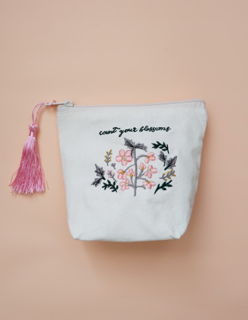 Flower Embroidery Pouch image