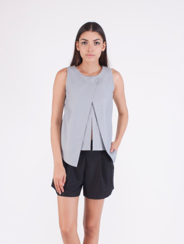 Grey Front Slit Olivia Top