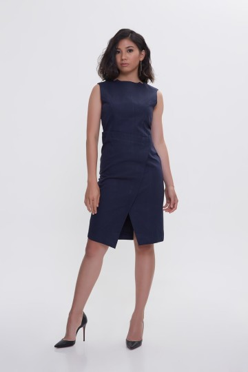 Asymmetric Dark Blue Olla Dress