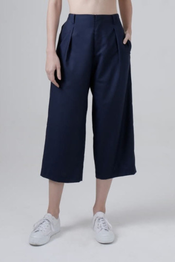 Navy Clo Wide Leg Ankle Pants